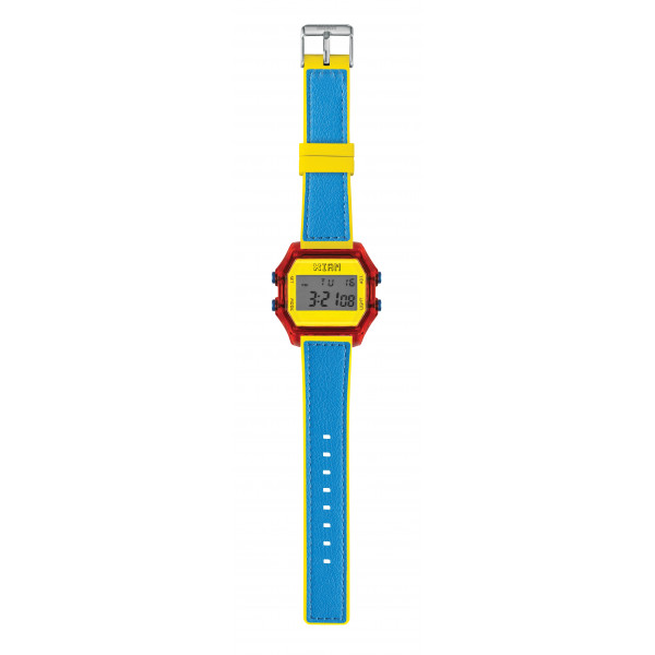 IAM Large red case with yellow face and bright blue + yellow PU strap