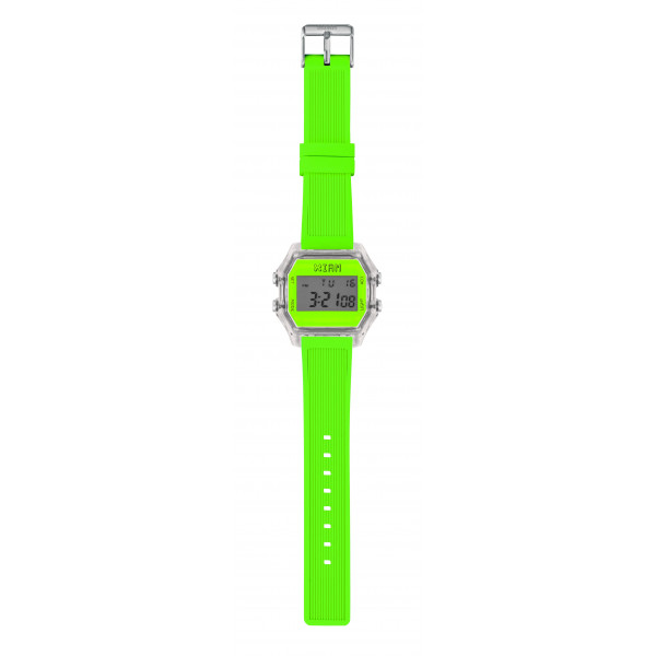 IAM Large transp. case with neon green face with green neon silicone strap