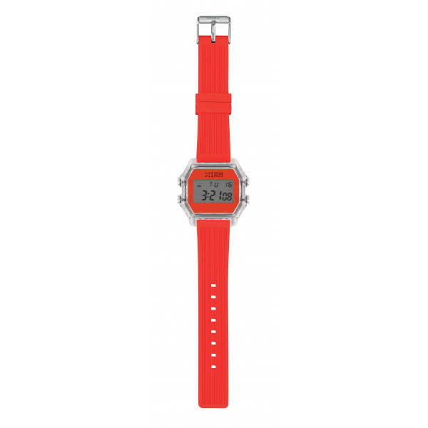 IAM Large transp. case with neon orange face with orange neon silicone strap