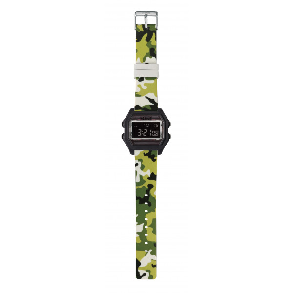 IAM Large rubber black case with green camo silicone strap