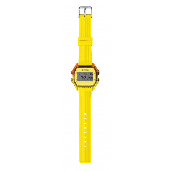 IAM Large bicolor fuchsia/yellow case with yellow silicone strap