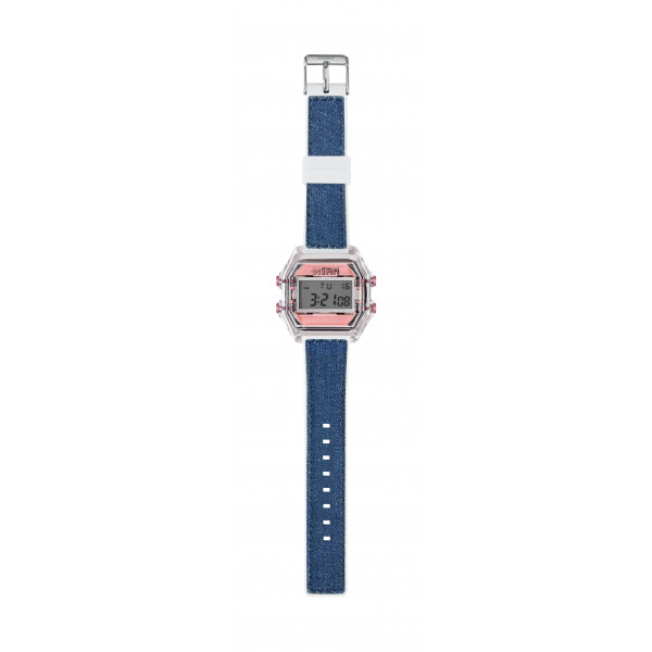 IAM Medium transp. case with pink face with blue jeans silicone strap