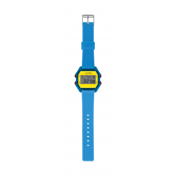 IAM Medium blue case with yellow face with blue silicone strap