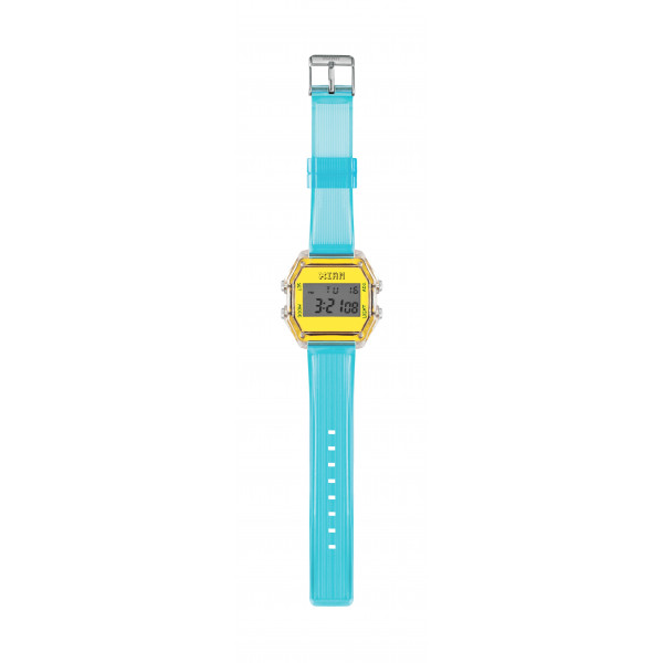 IAM Medium transp. case with neon yellow face with light blue transp. silicone strap