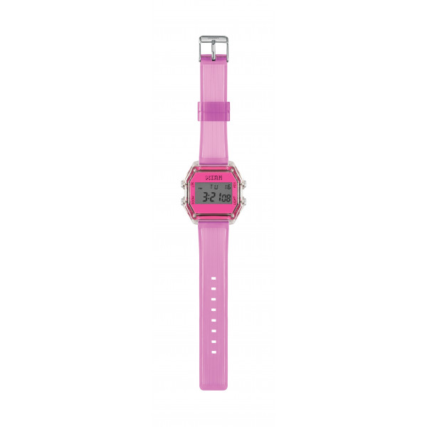 IAM Medium transp. case with neon fuchsia face with transp. light rose silicone strap