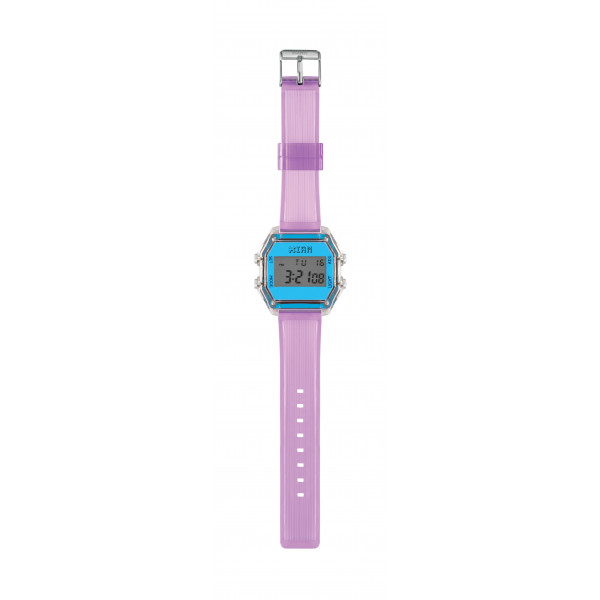 IAM Medium transp. case with neon light blue face with transp. lilac silicone strap