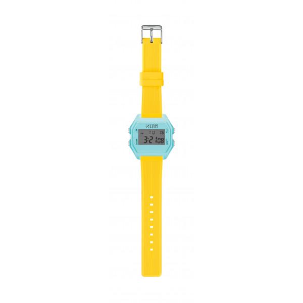 IAM Medium light blue case with neon yellow silicone strap