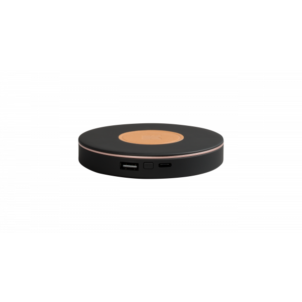 wiCHARGE GO, Black Wireless charging pad w. power bank