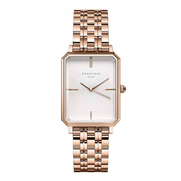 The Octagon White Sunray Steel Rose Gold